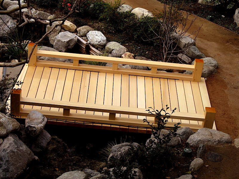 japanese wooden garden bridge